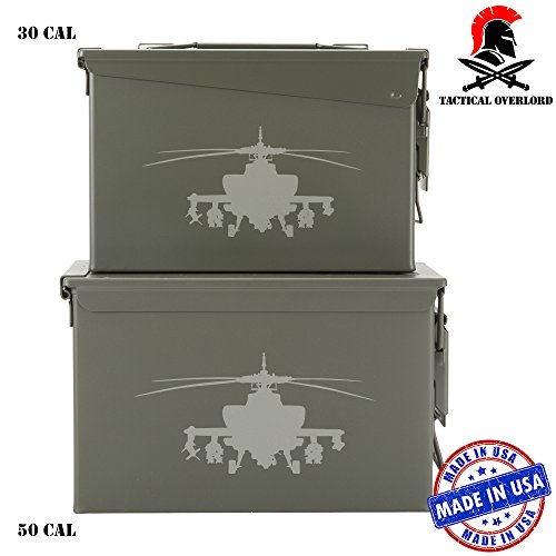 Helicopter Olive (Apachi Helicopter Laser Engraved Army Survival Box Ammo Can, Olive Green 30 + 50 Cal Set)