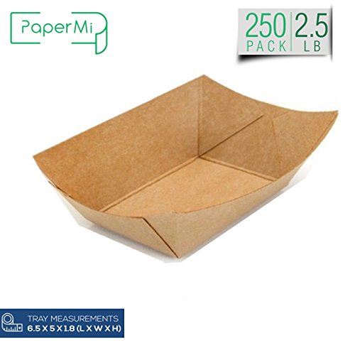 Brown Kraft Paper Food Tray, Capacity of 2.5lb, Eco-Friendly Kraft Food Trays USA Made, FDA Approved Recyclable & Biodegradable, Convenient for All Event: Party, Camping, Carnival, BBQ... (250pc)