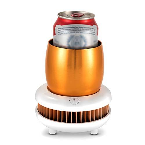 LTLWSH Electronic Bottle Chiller, Portable Mini Refrigeration Rapid Cup Cooler, Desktop Fast Cooling Fridge Single Bottle Drink Chiller for Home & Travel Iced Beer Wine Beverage,Gold