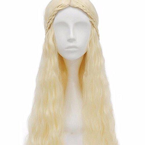 Febecool Makeup Wigs Daenerys Targaryen Cosplay Silver Gold Hair Masquerade Party Full Wigs