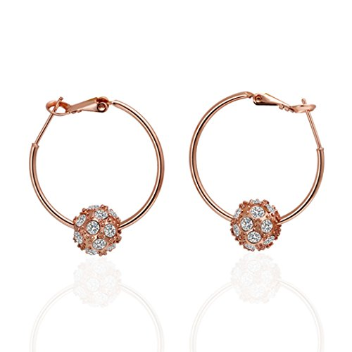 Price comparison product image Duo La Elegant Ball-shape Cubic Zirconia 18k Rose Gold Plated Lady Hoop Earrings