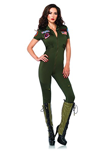 Leg Avenue Women's Top Gun Flight Suit Costume, Khaki, Small (Army Ladies Costume)