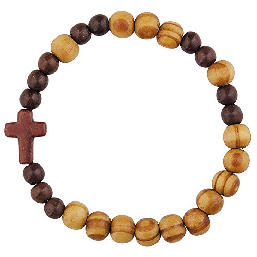 (Olive Wood Finish Stretch Rosary Bracelet -)