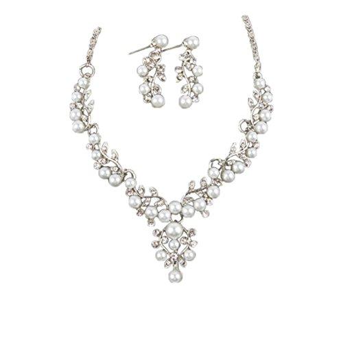 Deals Necklace+Earrings Jewelry Set Womens Pearl Rhinestone Short Necklace Earrings Wedding Bride Jewelry ZYooh (Silver)]()