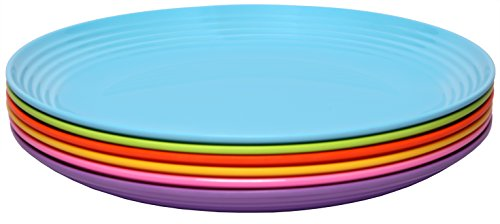 Melange 6-Piece Melamine Salad Plate Set  | Shatter-Proof an