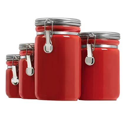 Beau Anchor Hocking 03923RED Ceramic Canister 4pc Set