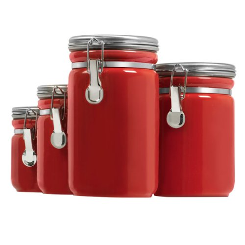 Anchor Hocking 4-Piece Red Ceramic Clamp Top Canister Set with Stainless Steel Lid Anchor Hocking Operating Co 03923RED