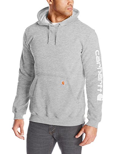 Carhartt Men's Midweight Sleeve Logo Hooded Sweatshirt,Heather Grey,Medium ()