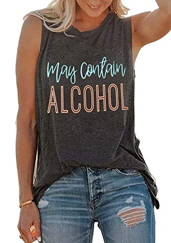SUNFLYLIG Summer Hawaiian Tank Tops for Women Fun Cute Drinking Sleeveless Letter Graphic T Shirt Country Music Tank Vest Tees(XX-Large, Grey) ()