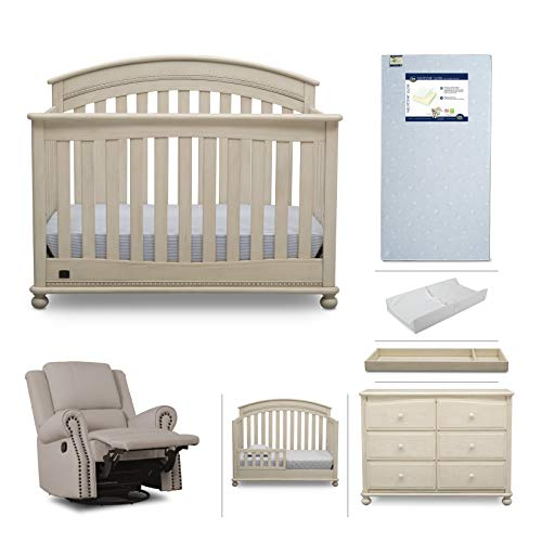 Baby Furniture Set – 7-Piece Nursery Furniture |Simmons Kids Aden | Convertible Crib, Dresser, Glider Recliner, Crib Mattress,Toddler Rail, Changing Top, Changing Pad, Antique White/Flax