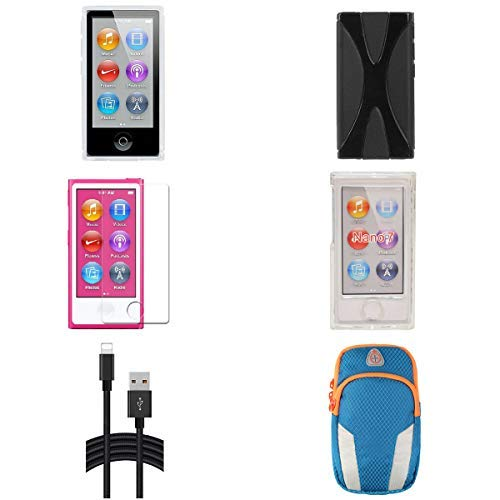 (Aiboco 6 Accessories kit for iPod Nano 7 7th Generation Slim TPU Rubber Case + Soft Clear Case Skin + Clear Hard Case+Charging Cable + Screen Protector (Black))