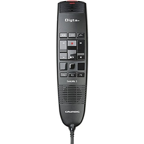 GRUNDIG GDD8300 Digta SonicMic 3 USB Dictation Microphone with Mouse Control and Intuitive Button Control, Individually Configurable