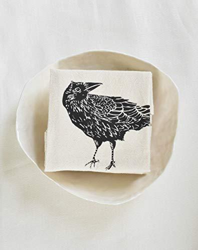(Cloth Napkins - Set of 4 - Crow Design in Black - Organic Cotton)