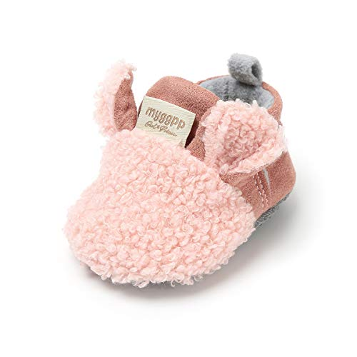 Infant Baby Boys Girls Slippers Cozy Fleece Booties with Anti-Slip Bottom Cartoon Socks Newborn Crib First Walkers Shoes
