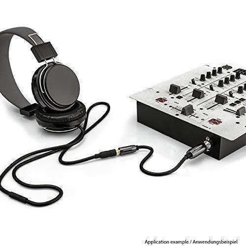 deleyCON 0,2m Cavo Adattatore Audio Stereo Connettori Dorati Connettore Maschio 6,3mm per un Connettore Femmina da 3,5mm Nero