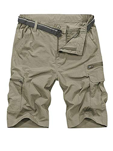 (Men's Outdoor Tactical Shorts Lightweight Expandable Waist Cargo Shorts with Multi Pockets Quick Dry Water Resistant #6222, Khaki, 40)