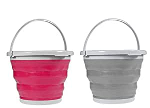 Set of 2 Collapsible Folding Buckets 2.5 Gallon Camping Supply Assorted Colors