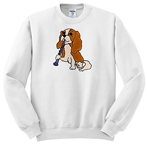 All Smiles Art Music - Funny Cute Cavalier King Charles Spaniel Playing Clarinet - Sweatshirts - Youth Sweatshirt Large(14-16) ()
