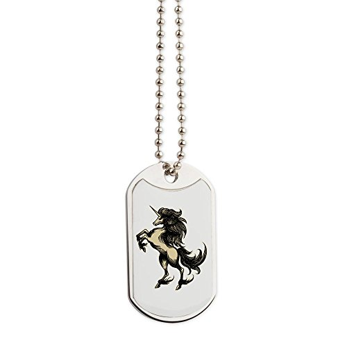 Dog Tags Unicorn Heraldry Engraving Style