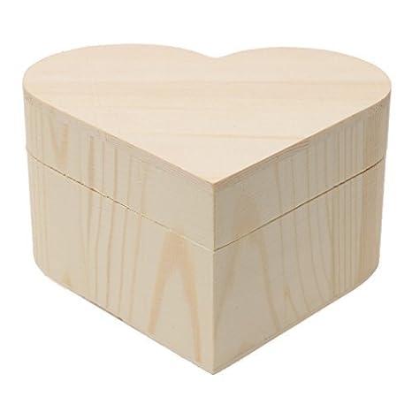 Welim - Caja de madera con forma de corazón, caja de almacenamiento, caja de
