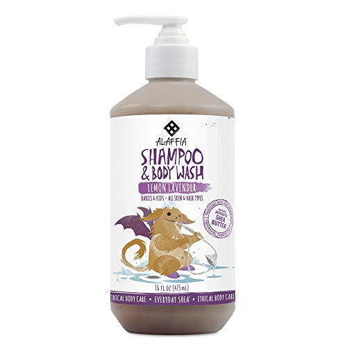 (Alaffia - Everyday Shea Shampoo and Body Wash, Babies and Kids, Gentle and Calming Support for Soft Hair and Skin with Shea Butter, Neem, and Coconut Oil, Fair Trade, Lemon Lavender, 16 Ounces (FFP))