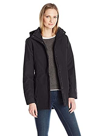 Charles River Apparel Women's Logan Wind and Water Resistant Drop Tail Jacket, Black, XS