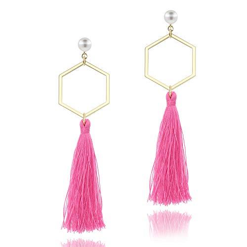 (Pink Tassel Long Drop Thread Fringe Earrings Dangle Pearl Stud Earring for Women Girls)