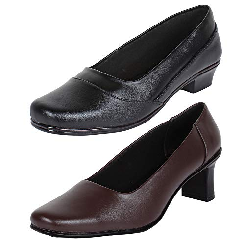 AUTHENTIC VOGUE Women's Combo Pack of 2 Formal Office Wear Slip On Shoes- Brown & Black Color (Combo Pack of 2)