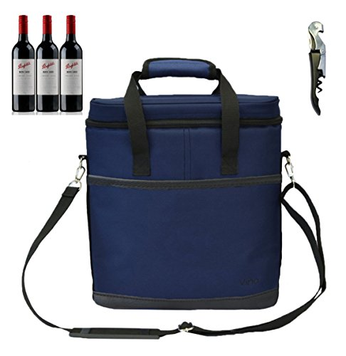 Vina 3 Bottle Wine Carrier - Travel Picnic Insulated Wine Cooler Tote Bag Case with Shoulder Strap for Beer and Champagne + Free Corkscrew, ()
