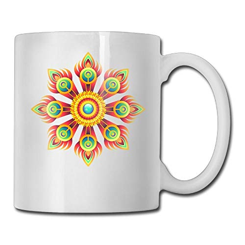 (GG-go Feathered And Flowers Funny Pattern 11 Ounces Coffee Mug Novelty Ceramic White Tea Cup Coffee/Tea Cup Gift For Father's Day Or Friend,Mother,Birthday)