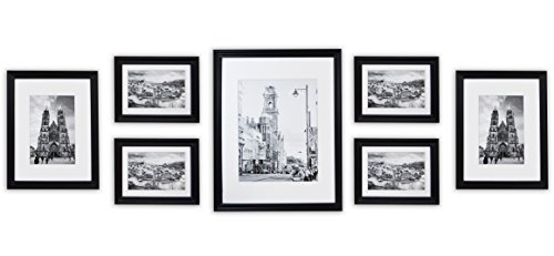 golden state art wall frames collection black wood frame set for picturesphotos 7 frames