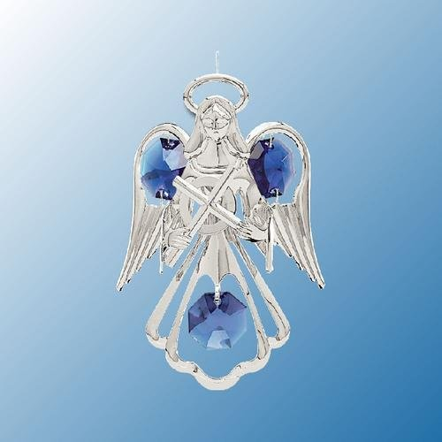 (Hanging Sun Catcher or Ornament..... Angel Holding Cross With Blue Swarovski Austrian Crystals)