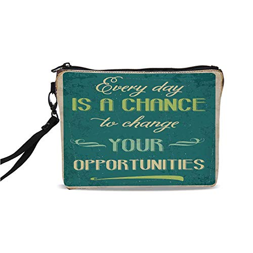 (Lifestyle Simple Cosmetic Bag,Every Day is a Chance to Change Your Opportunities Quote Retro Poster Print for Women,9