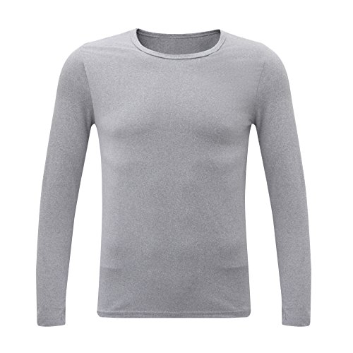 Nice SYEEGCS Milk Silk T-Shirt For Men - Round Neck Long Sleeves Quick Drying Underwear Sleep Clothes for sale