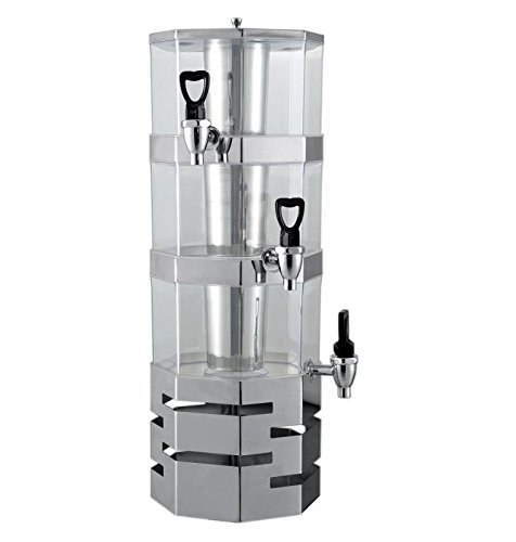 Ice Stackable - 3 Tier Stack-able Juice Drink Dispenser Heavy Duty Stainless Steel Base & rings with center ice core 3.5 liter per tier Stackable (3 Tier)