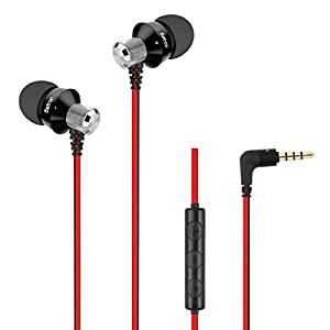 Betron DC950HI Earbuds with Microphone and Volume Control, Noise Isolating Earphone Tips, Wired in Ear Headphones, Black