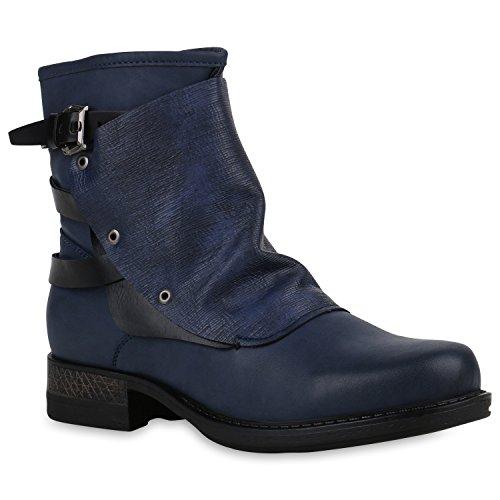 Stiefelparadies Damen Stiefeletten Zipper Biker Boots Schuhe Leder-Optik Schnallen Knöchelhohe Stiefel Damenschuhe Flandell Dunkelblau