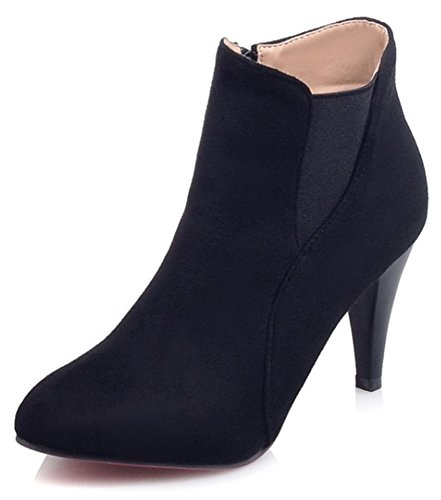 Summerwhisper Women's Dressy Faux Suede Elastic Pointed Toe Side Zipper Pointy High Heel Ankle Booties Black 13 B(M) US by Summerwhisper