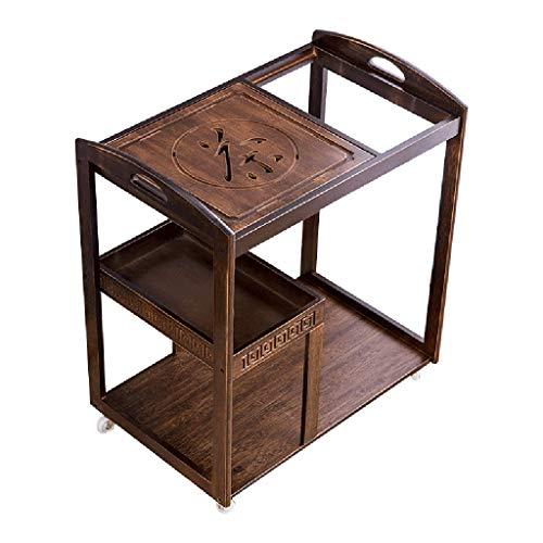 - Tea cart Kitchen Islands & Carts Kitchen Cart Wine Cart Mobile Tea Table Small Tea Table Tea Set Tea Tray Set Home Kitchen Cart (Color : Pecan, Size : 716541cm)