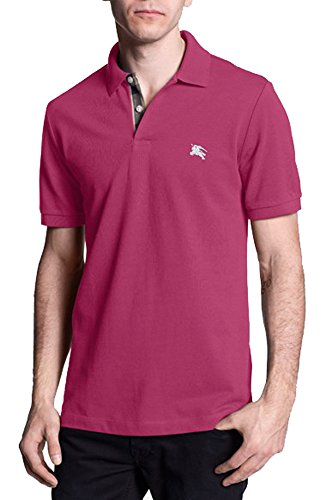 Burberry Brit mens short sleeve nova check placket polo shirt (Large, Raspberry - Pink Burberry