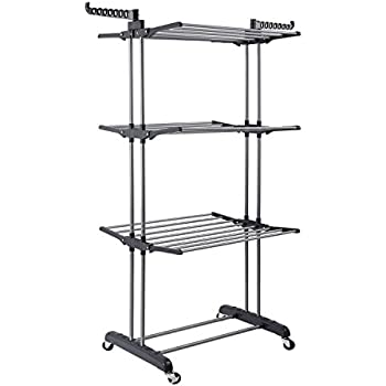 jusdreen 3 tier rolling clothes drying rack clothes garment rack adjustable laundry rack with foldable wings