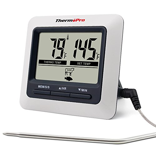 ThermoPro TP04 Digital Cooking Food Meat Thermometer for Grilling Smoker Oven BBQ Thermometer with Large Display, White/Grey Image