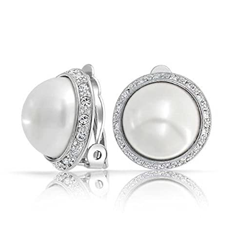 Bling Jewelry Crystal White Simulated Pearl Clip On Earring Rhodium Plated Brass