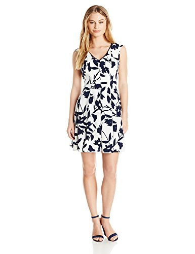 London Times Women's Plus Size Cap Sleeve V Neck Fit & Flare Dress, White/Navy, 14W