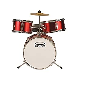 Union DBJ3067(MR) 3-Piece Toy Drum Set with Cymbal and Throne - Metallic Red 7