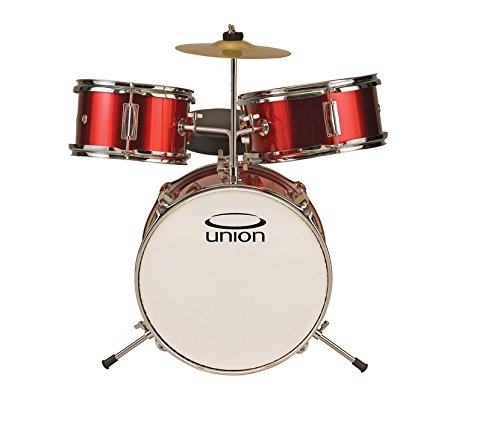 Union DBJ3067(MR) 3-Piece Toy Drum Set with Cymbal and Throne - Metallic Red