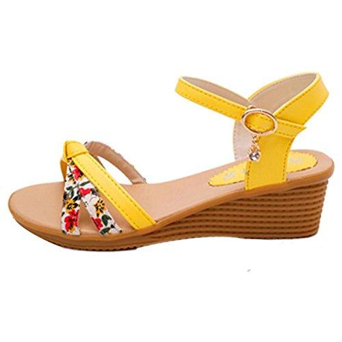 Sandalias de mujer, Internet Las sandalias del verano de las mujeres calzan las sandalias de los altos talones sandalias flip flops Amarillo