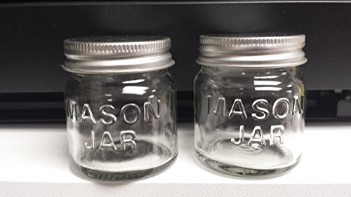 Set of 2 MINI MASON JARS, glass with metal screw-top lids