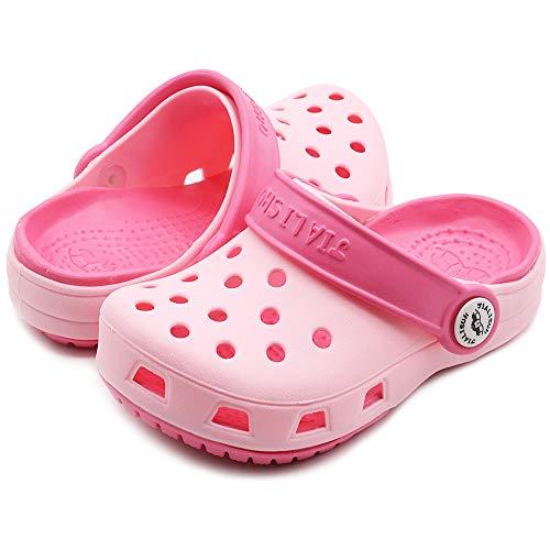 eccbox Kids Clogs Boys Girls Summer Slide Sandals Beach Slippers (8.5 M US Toddler, Pink-A)
