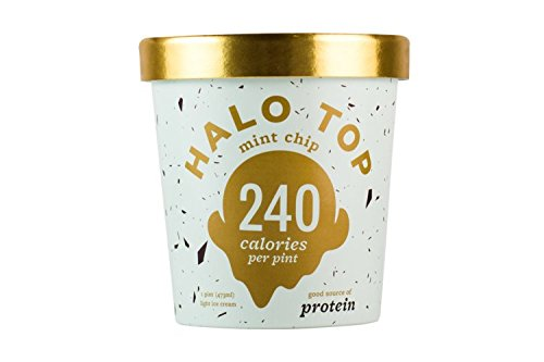 Halo Top Ice Cream Pint, Mint Chip, 16 Ounce (Pack of 8) (Cream Top Ice)